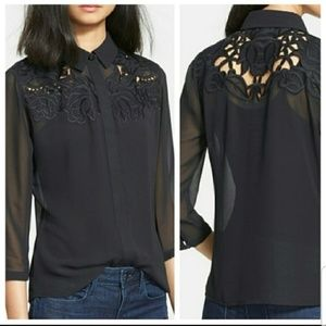 Ted Baker London Nelley Black Embroidered Blouse